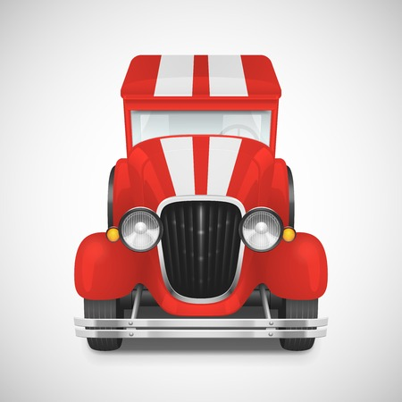 Red Fire Truck Retro Car Icon, Vector Illustration