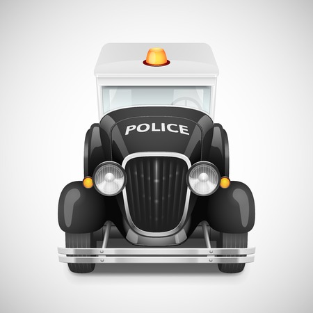 Police With Flashing Lights Retro Car Icon, Vector Illustration