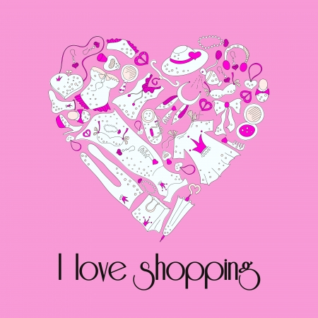 I love shopping, heart from stylish hand drawn composition of women related fashion items, shopping madness Vector