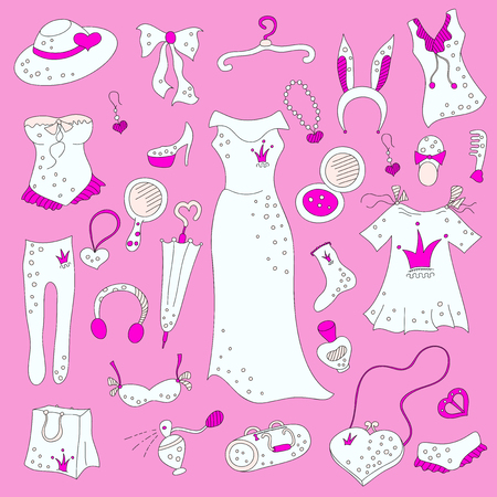 fetishes: Stylish hand drawn pink composition of women related fashion items, shopping madness, vector set Illustration