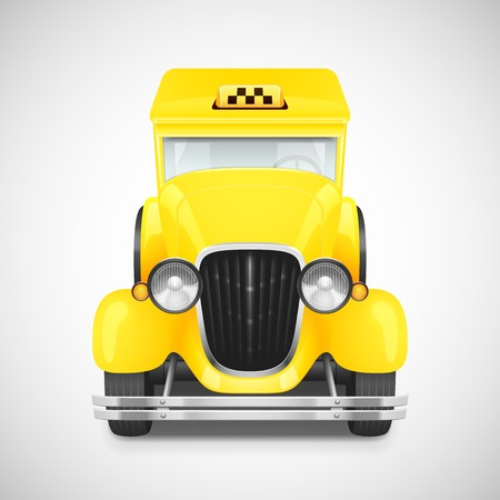 Yellow Taxi Retro Car Icon, Vector Illustration Vector