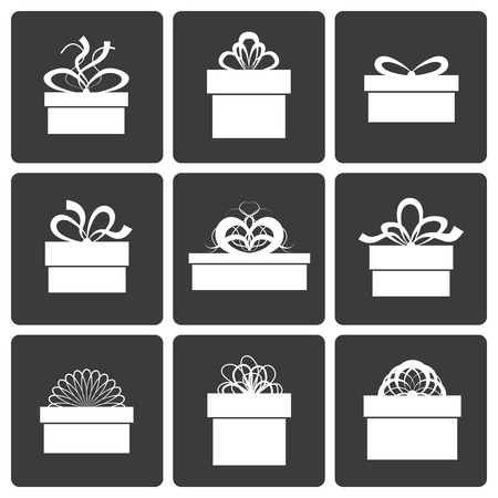 presents: Gift Box Icons, Holiday Presents, Vector Illustration