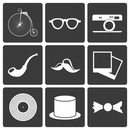 Icons with set hipster items, vector illustration Vector