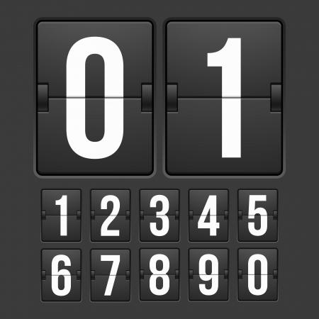 Countdown-Timer, Farbe weiß mechanische Anzeigetafel mit verschiedenen Zahlen Vektorgrafik