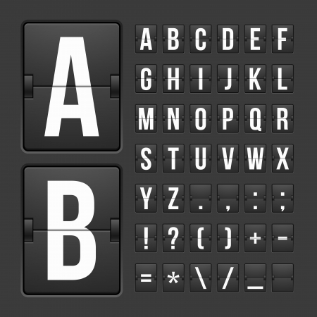 white letters: Vector scoreboard letters and symbols alphabet mechanical panel