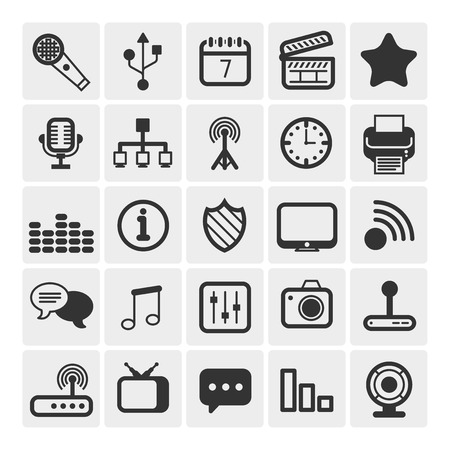 25 Universal Outline Icons For Web and Mobile Vector