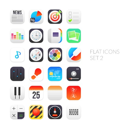 Flat icons gradient style with rounded corners, set 2 Vector