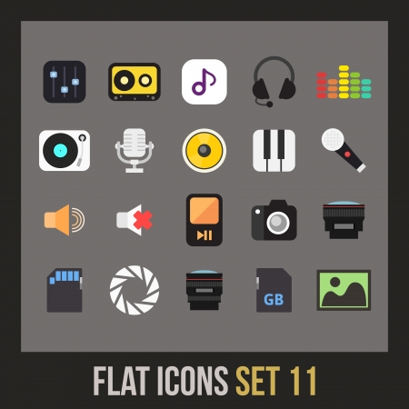 Flat icons set 11 - audio and photo collection Vector