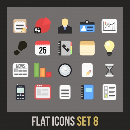 Flat icons set 8 - businnes collection Stock Vector - 24510921