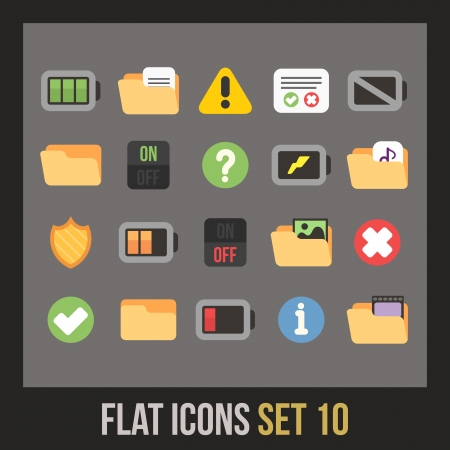 Flat icons set 10 - interface collection Vector