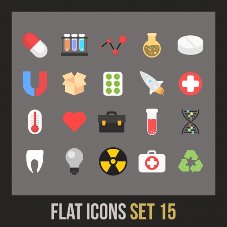 Flat icons set 15 - science and medicine collection Vector