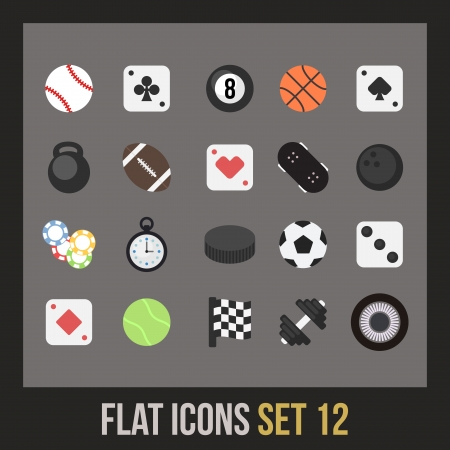 Flat icons set 12 - sport and game collection Vector