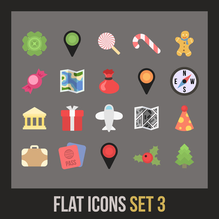 Flat icons set 3 - holiday collection Vector