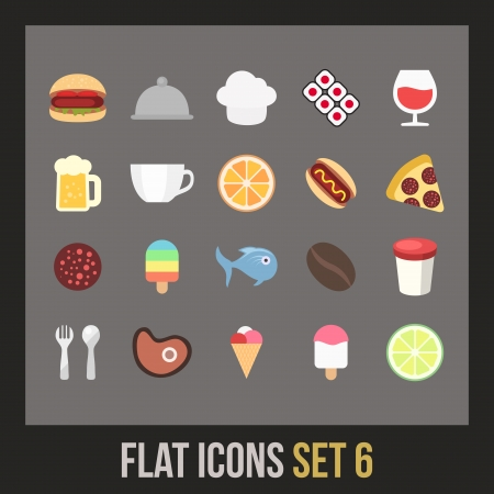 hot dog label: Flat icons set 6 - food and drink collection