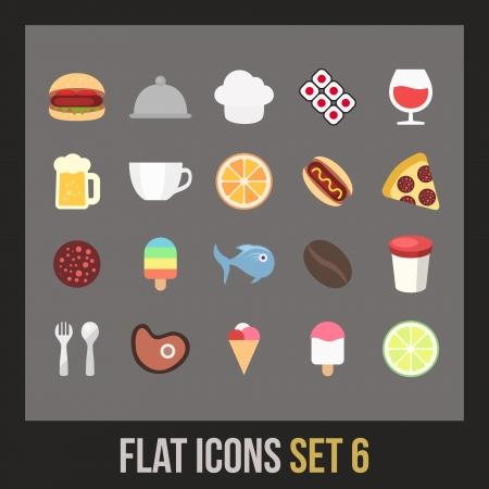 ios: Les graphismes plats set 6 - collection de nourriture et de boisson