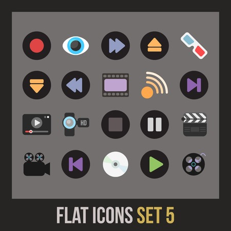 Flat icons set 5 - media collection Vector