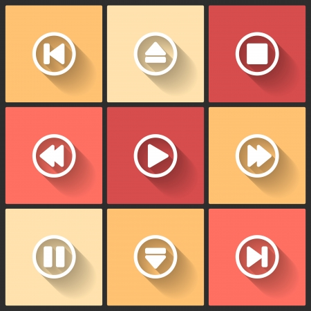 pause button: Vector design flat icons for web and mobile