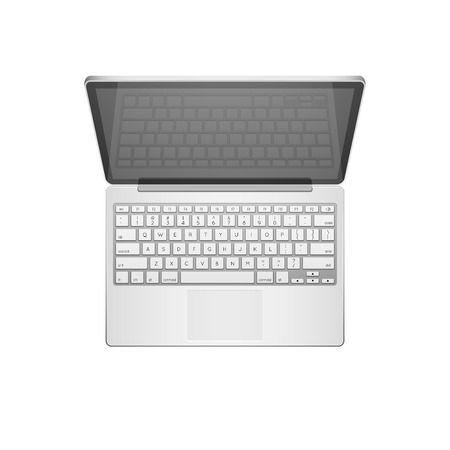 Open Modern Laptop, Top View, Vector Illustration Vector