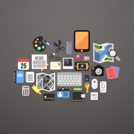 ios: Flat icons set personal items, vector illustration