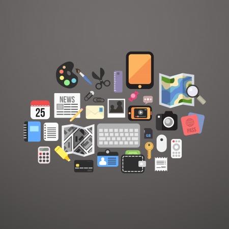 ios: Les graphismes plats fix�s objets personnels, illustration vectorielle Illustration