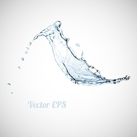 pouring water: Blue water splash isolated on white background, vector illustration