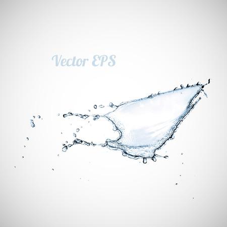 Blue water splash isolated on white background, vector illustration