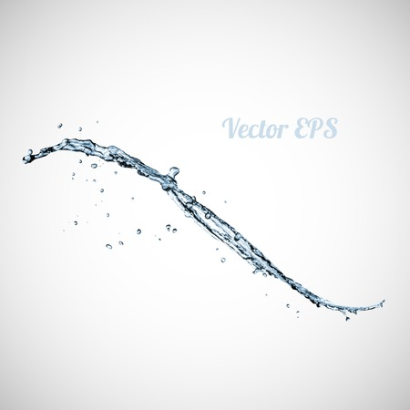 Blue water splash isolated on white background, vector illustration