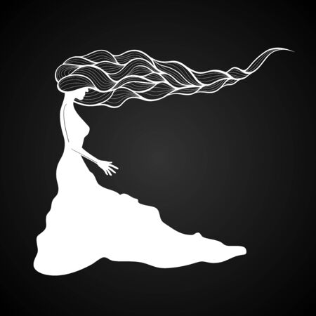 long hair: woman with long curly hair, black and white Illustration