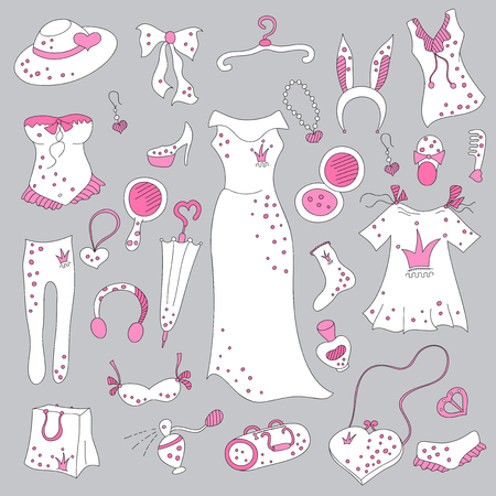 fetishes: Stylish hand drawn composition of women related fashion items, shopping madness, vector set Illustration