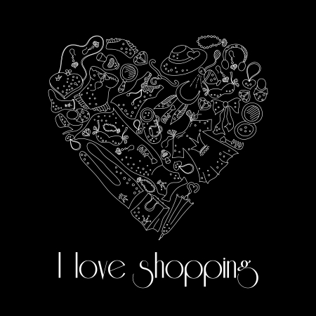 fetishes: I love shopping, heart from stylish hand drawn composition of women related fashion ..items, shopping madness, poster or background