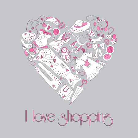 fetishes: I love shopping, heart from stylish hand drawn composition of women related fashion items, shopping madness, poster or background