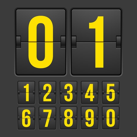 sec: Countdown timer, white color mechanical scoreboard with different numbers Illustration