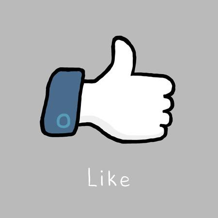 Like, thumb up, blue color, doodle sketch vector illustration
