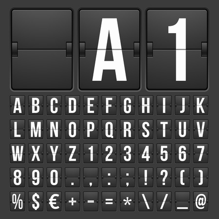 Vector Countdown Timer and Date, Calendar Scoreboard Numbers Illustration