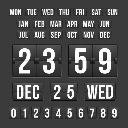 time remaining: Vector Countdown Timer and Date, Calendar Scoreboard Numbers Illustration
