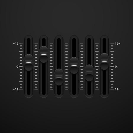 mixing board: Black sound mixer console panel, vector illustration
