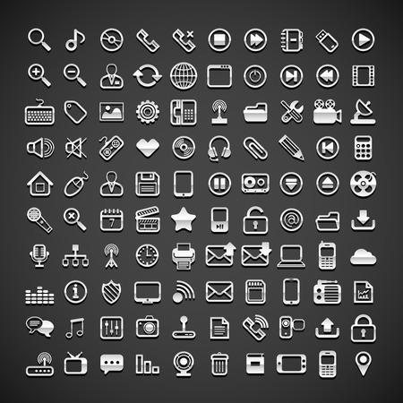 100 flat metallic universal icons, vector illustration Vector
