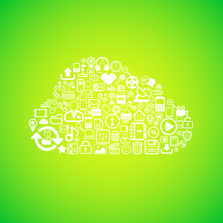 Computer cloud icon, concept vector background illustration Vector