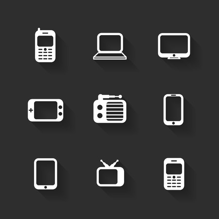 portable console: Vector design flat icons for web and mobile