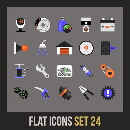 Flat icons set 24 - car parts and services Vector