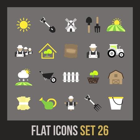 Flat icons set 26 - farm and farming Vector