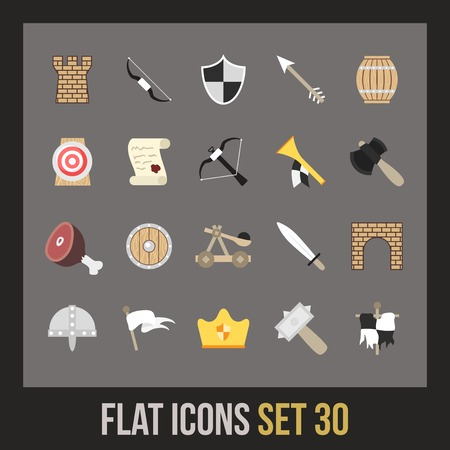 Flat icons set 30 - castle and wepon Vector