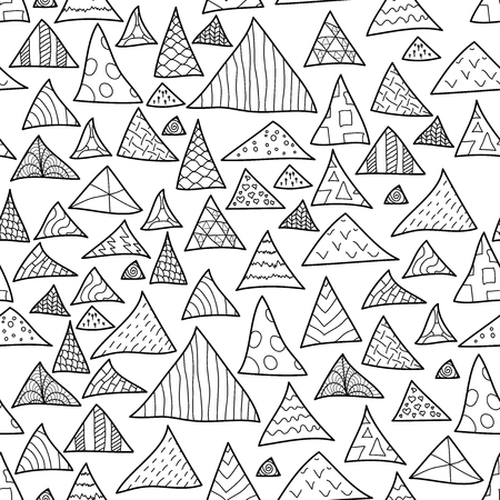 Seamless background, black and white hipster pattern of triangle, vector illustration Vector