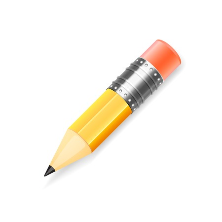 Vector pencil black and yellow color, isolated on white background Stock Vector - 27200290