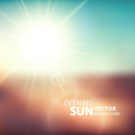 Wazige avond scene met bruine veld, zon uitbarsting, blauwe en groene hemel onscherpte, vector illustratie Stock Illustratie