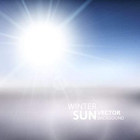 Blurry white mountain, and blur blue sky with winter sun burst, vector illustration Vector