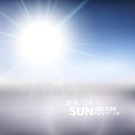 snow scene: Blurry white mountain, and blur blue sky with winter sun burst, vector illustration Illustration