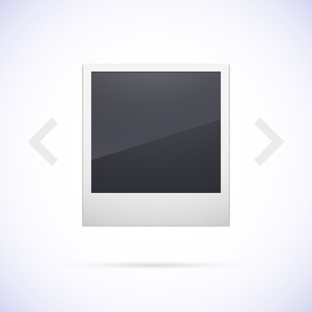 poloroid: Retro photo frame isolated on white background, with scrolling arrow, vector illustration