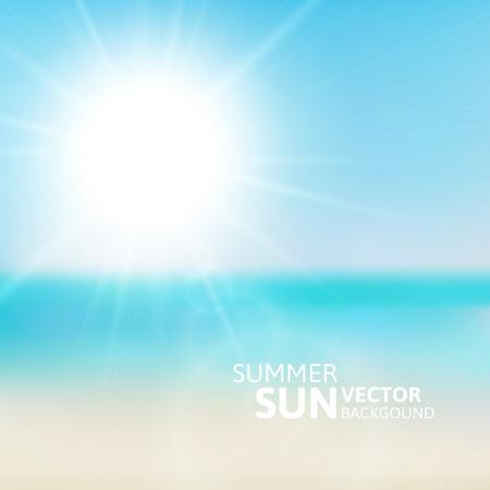 summer day: Playa borroso y cielo azul con la explosi�n de sol de verano, vector de ilustraci�n de fondo