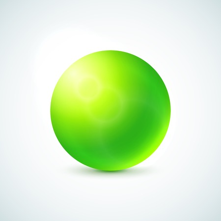 Green glossy sphere isolated on white, vector illustration for your design Vector